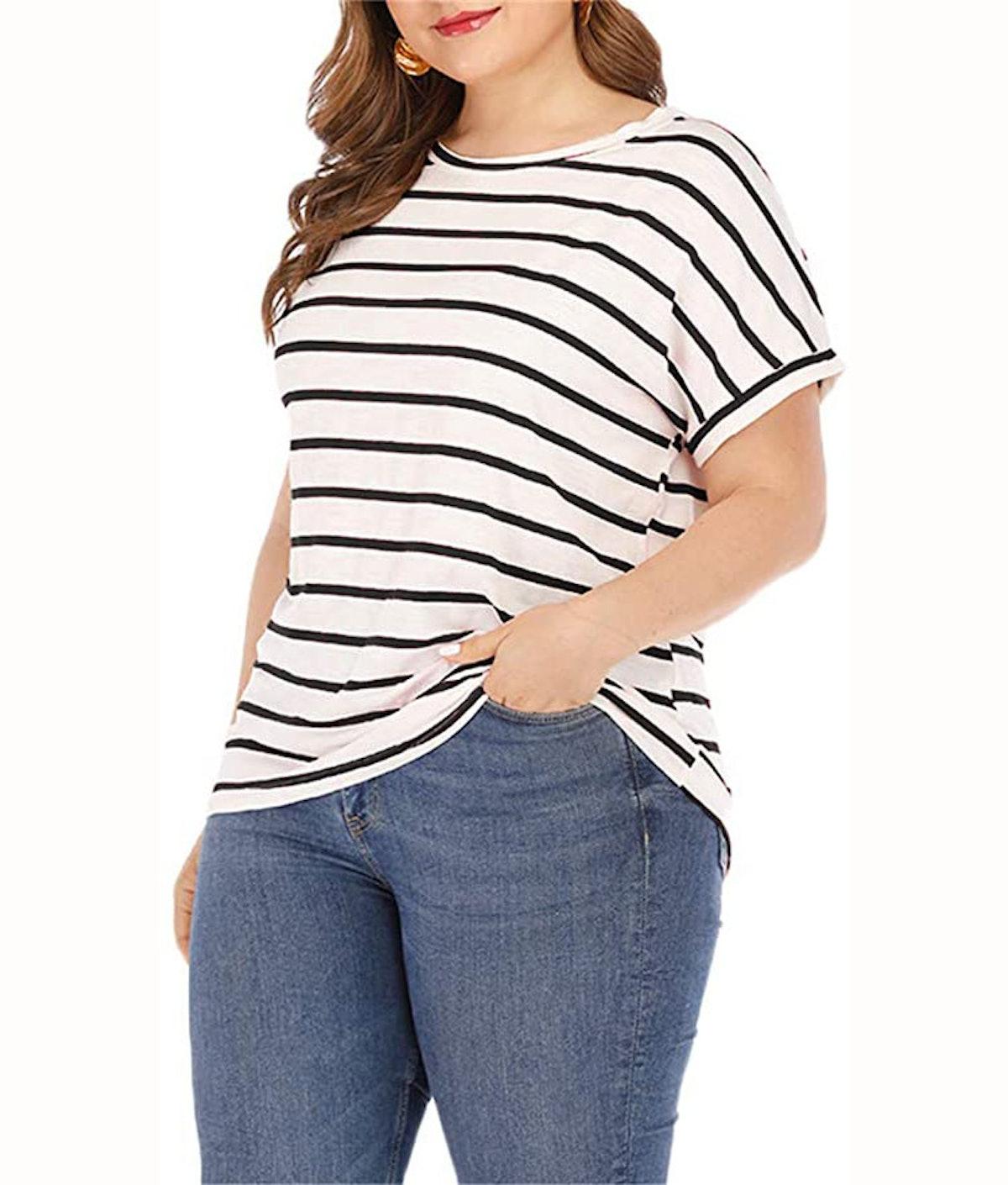 GXLU Plus Size Short Sleeve Striped T Shirt