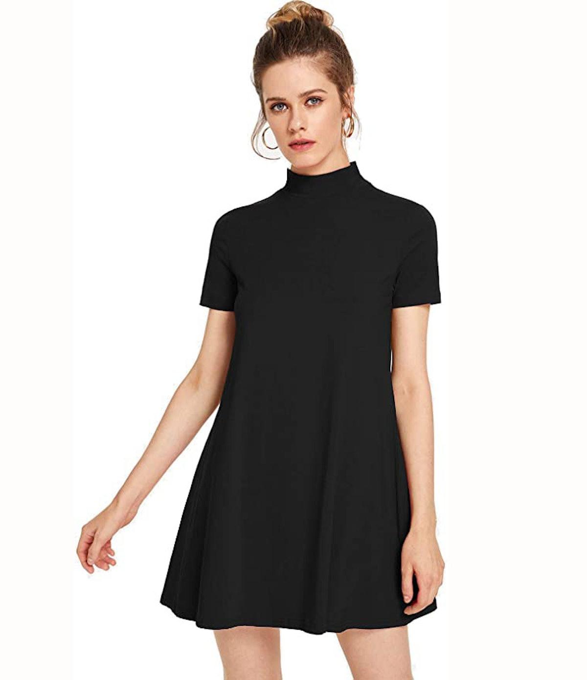 Milumia Short Sleeve Mock Neck T Shirt Dress