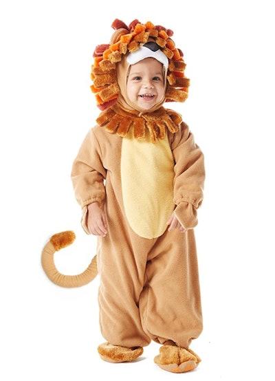 Toddler wearing lion costume