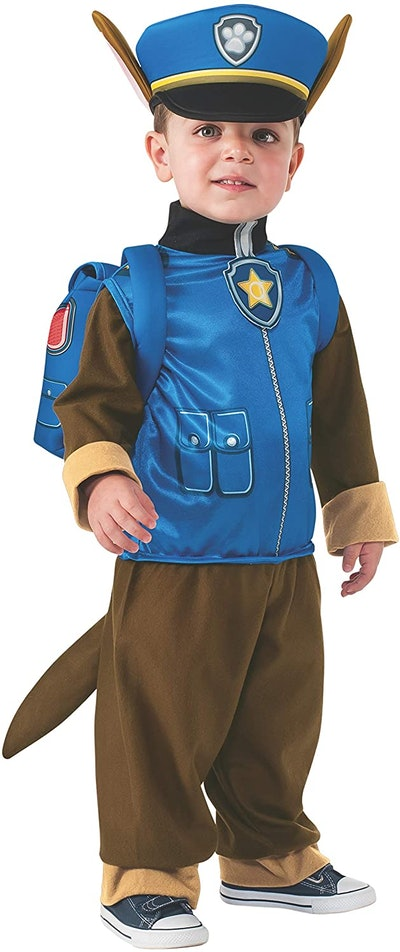 """Toddler wearing a Chase costume from """"Paw Patrol"""""""