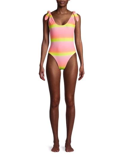 XOXO Women's One-Piece Scoop Neck Swimsuit With Shoulder Ties
