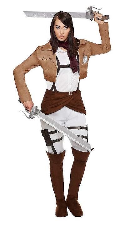 Adult woman posing in Mikasa Ackerman costume