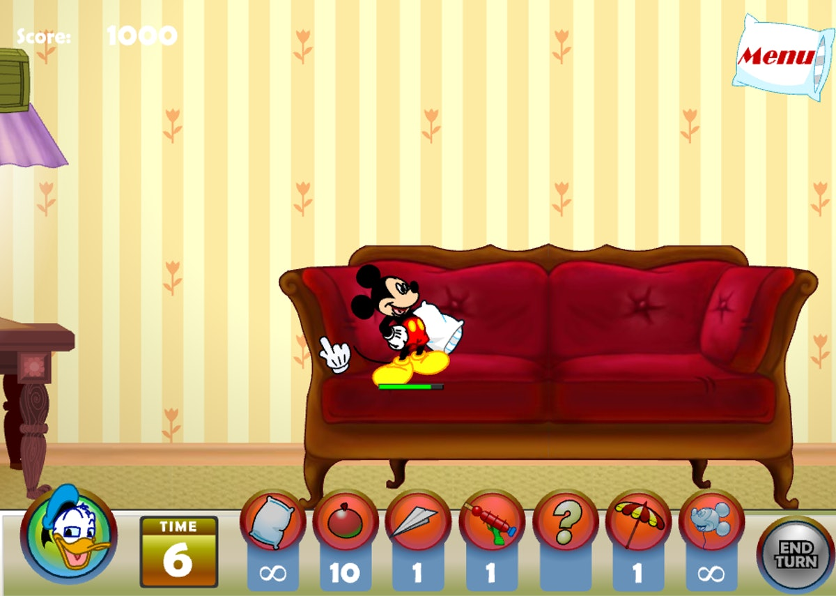 These Disney Channel games you play online include a pillow fight with Mickey, Donald, and Goofy.