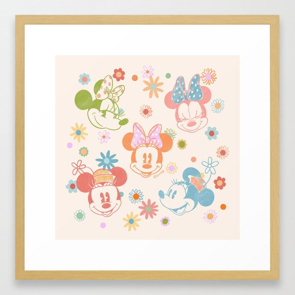 This Society6 x Disney Minnie Mouse Collection framed art is great dorm decor.