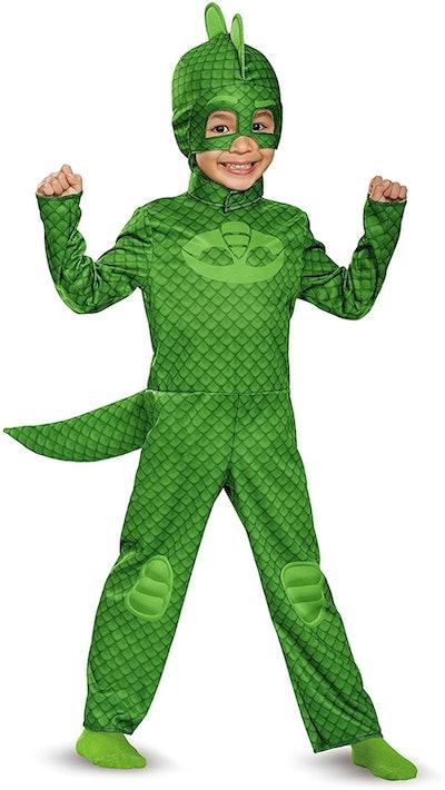 "Toddler wearing green Gecko costume from ""PJ Masks"""