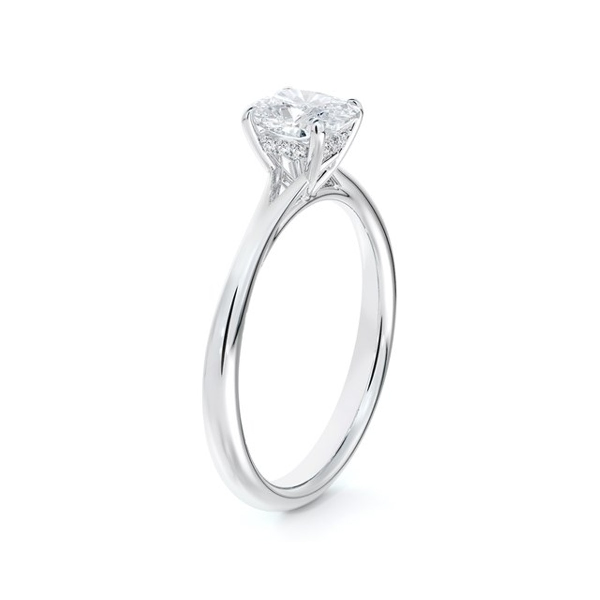 Forevermark Icon setting cushion engagement ring with diamond basket from De Beers Forevermark.