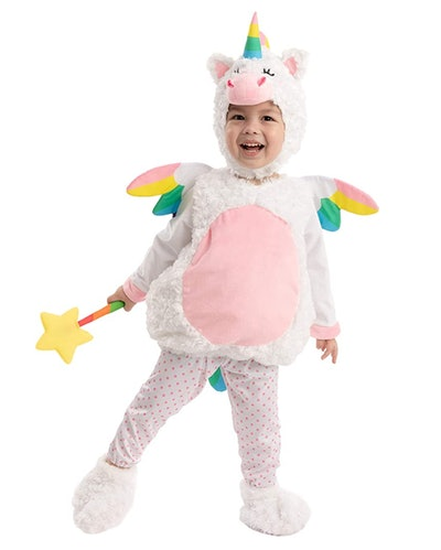 Toddler in hooded unicorn costume