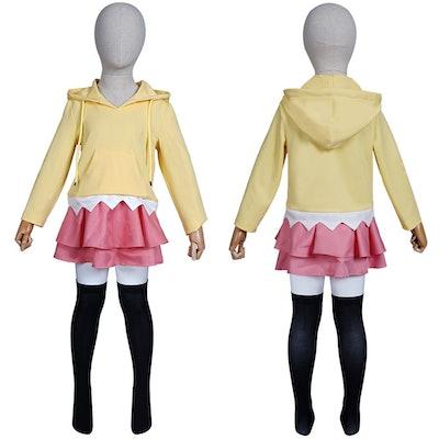 Kid size mannequin wearing Himawari Uzumaki costume