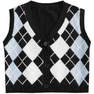 Plus Size V Neck Argyle Pattern Sweater Vest