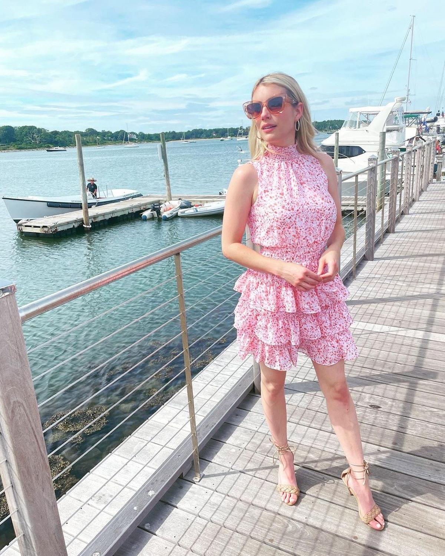 Emma Roberts wearing an Express dress.
