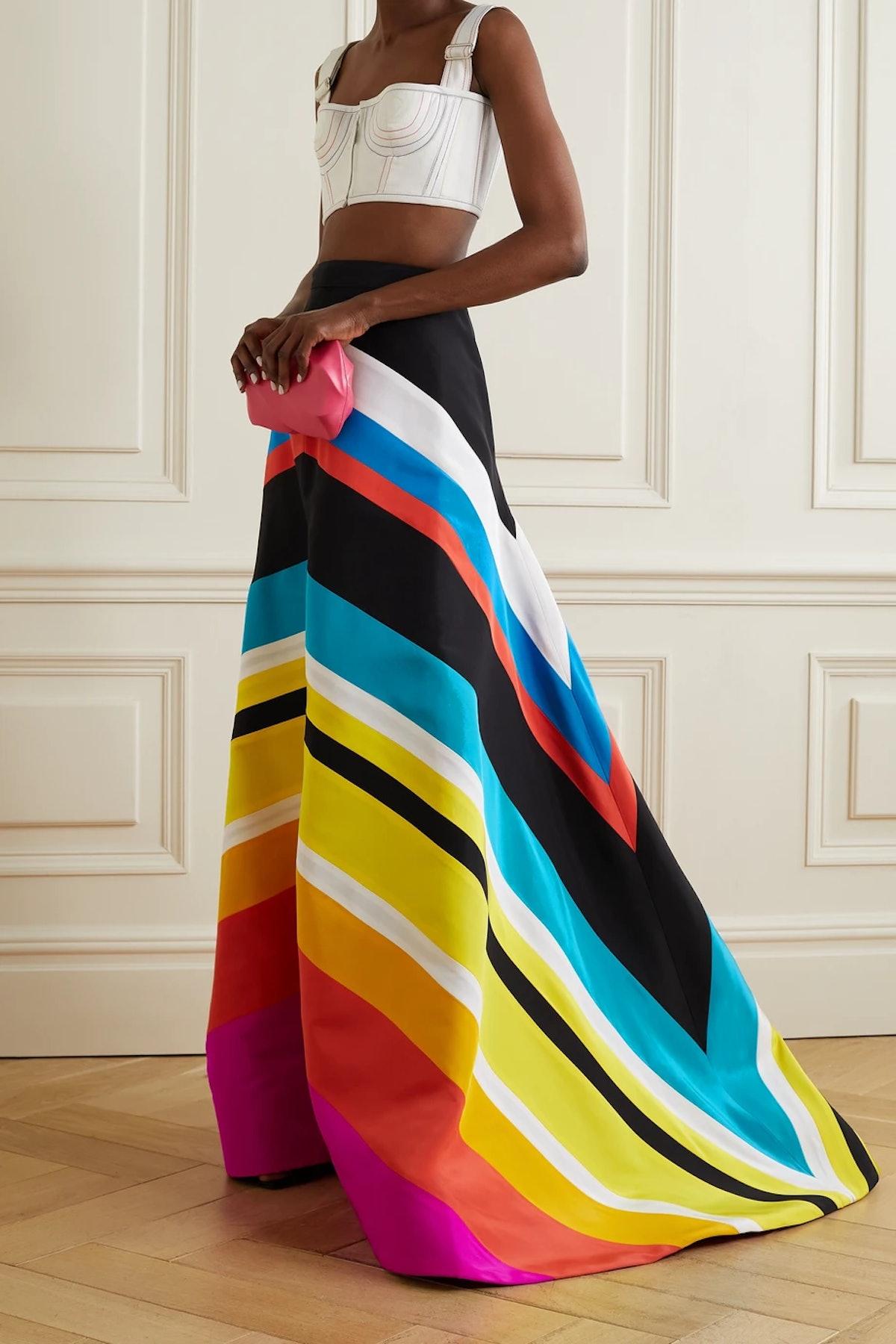 Trumpet Striped Silk-Faille Maxi Skirt