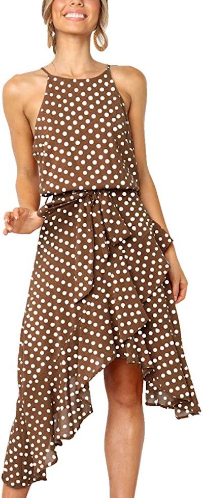 ECOWISH Polka-Dot Tie Waist Midi Dress
