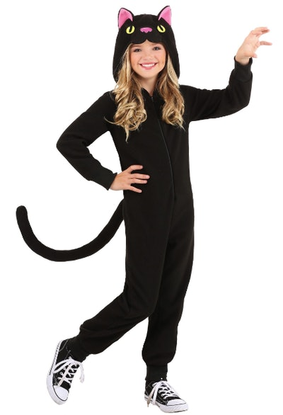 Girl wearing a black cat onesie costume