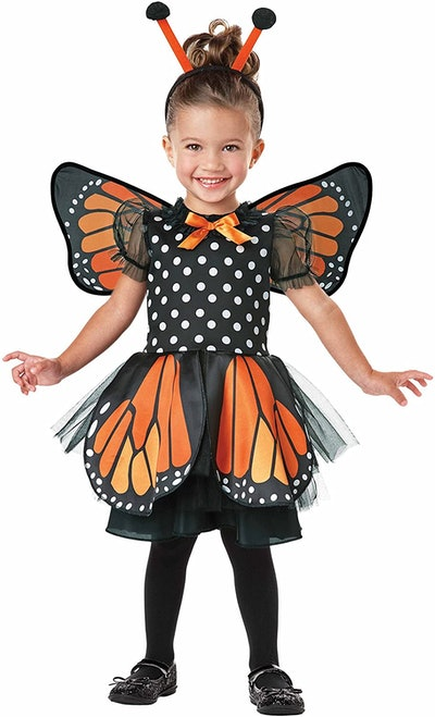 Toddler girl dressed in a butterfly costume