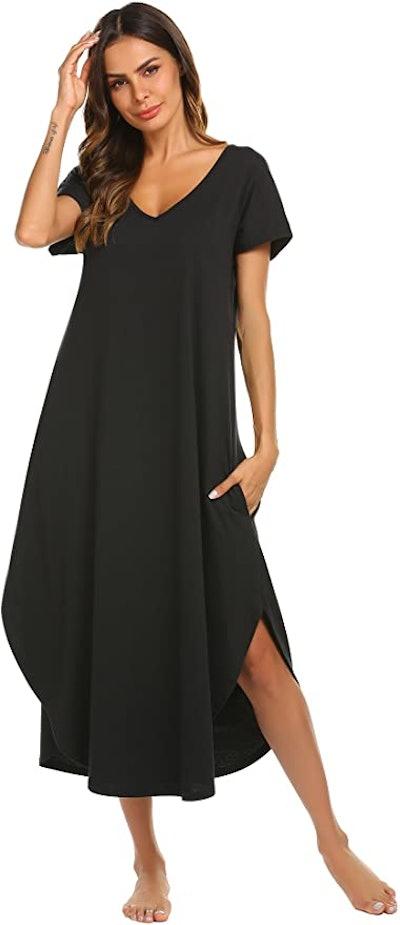Ekouaer Short Sleeve Midi Nightgown