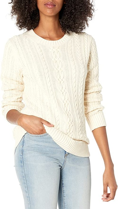 Amazon Essentials Fisherman Cable Long-Sleeve Crewneck Sweater