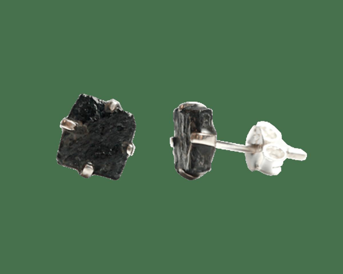 Black Tourmaline Crystal Earrings