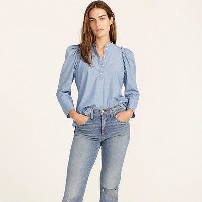 Puff-Sleeve Chambray Top
