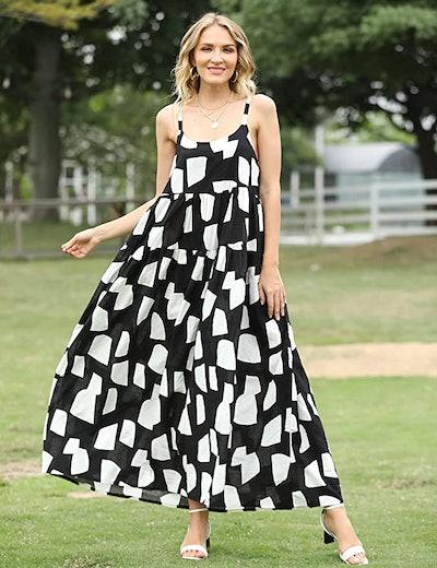 YESNO Loose Bohemian Floral Print Dress