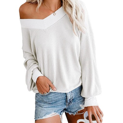 Adreamly V Neck Waffle Knit Oversized Pullover