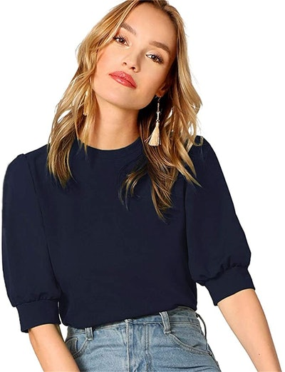 SheIn Puff Sleeve Casual Solid Pullover