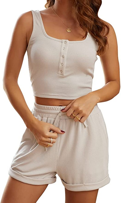 MEROKEETY Ribbed Crop Top and Shorts (2-Piece)