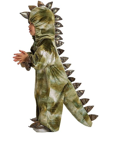 Side view of a toddler in a t-rex costume