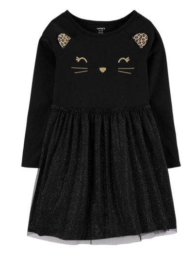Dress with a cat face on the front