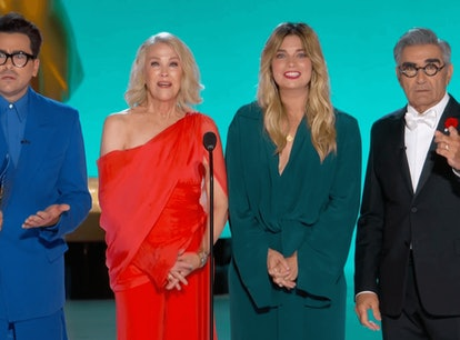 The 'Schitt's Creek' cast presenting at the 2021 Emmy Awards.