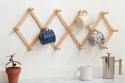 Fox Run Expanding Beechwood Coffee Mug Wall Rack