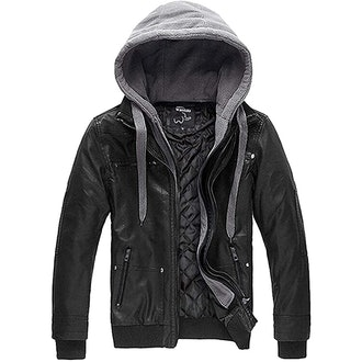 Wantdo Faux Leather Jacket With Removable Hood