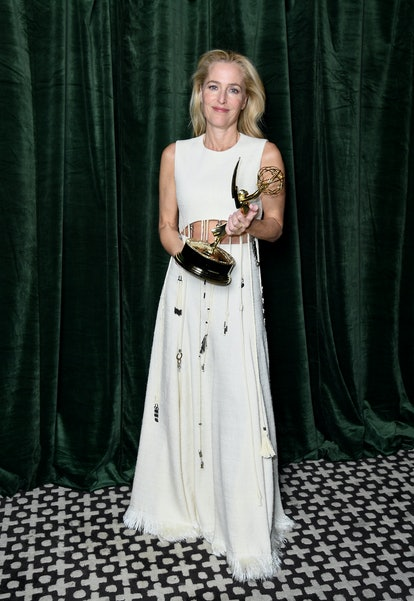 Gillian Anderson with her Emmy award for 'Outstanding Supporting Actress for a Drama Series', at the...