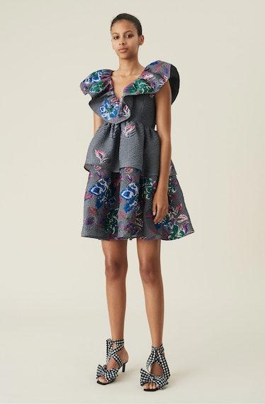 Crinkled Jacquard Ruffled V-Neck Mini Dress