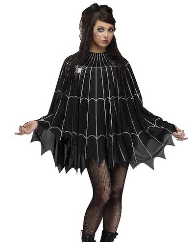 Woman wearing a web costume