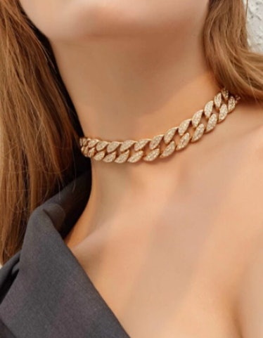 1-Piece Rhinestone Thick Chain Choker