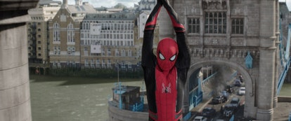 Spider-Man swings through old buildings in 'Spider-Man: Far From Home.'