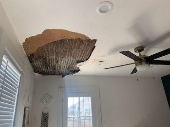 Photo of Hurricane Ida ceiling storm damage