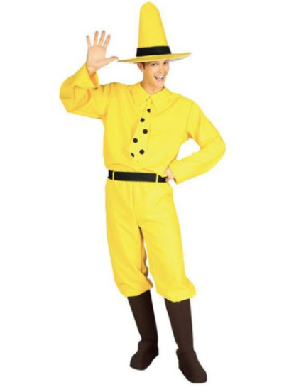 Man dressed up as the Man in the Yellow Hat
