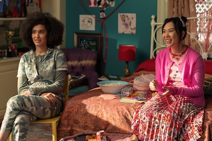 RAMONA YOUNG as ELEANOR WONG, LEE RODRIGUEZ as FABIOLA TORRES in NEVER HAVE I EVER