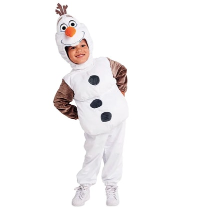 Toddler dressed as Olaf from the movie Frozen