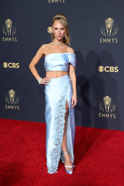 Juno Temple poses in the press room during the 73rd Primetime Emmy Awards at L.A. LIVE on September ...