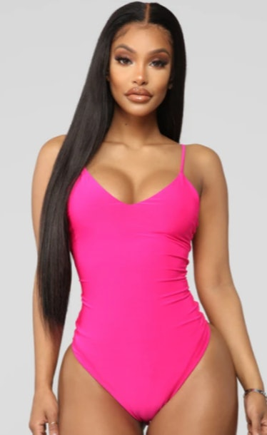 Here To Stay Bodysuit - Neon Pink