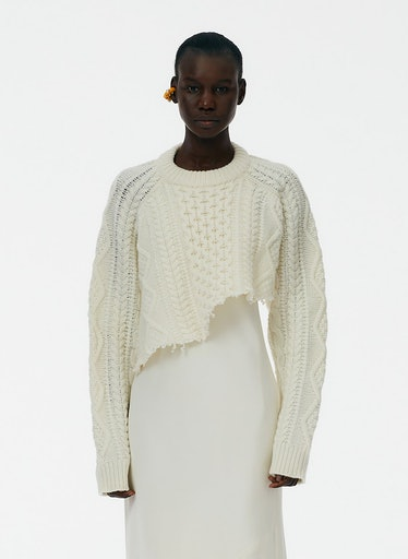 Aran Cable Wool Cutoff Oversized Pullover