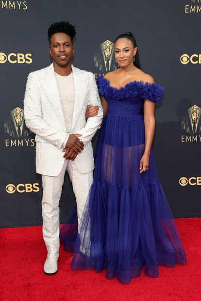 Leslie Odom Jr. and Nicolette Robinson at the 2021 Emmys.