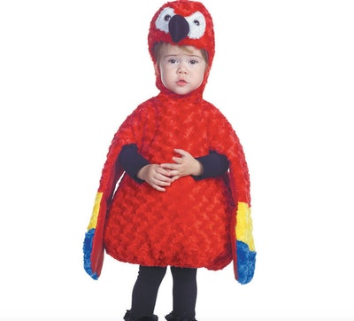 Toddler wearing a parrot costume