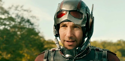 A still from 'Ant-Man,' with Paul Rudd in his suit with the visor up.