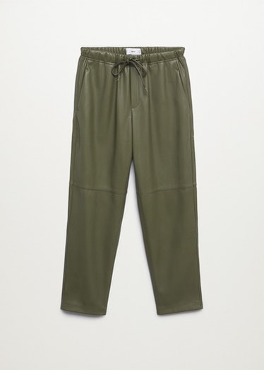 Leather-Effect Elastic Waist Trousers