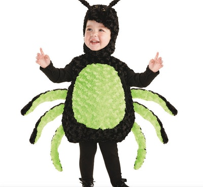 Toddler wearing a spider costume