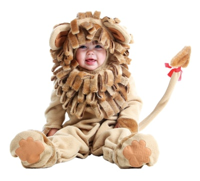 Baby dressed as the Cowardly Lion