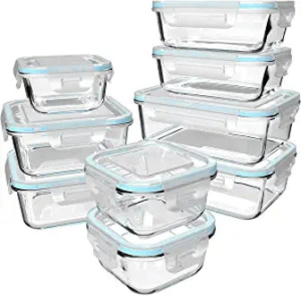 S Salient Glass Food Storage Containers (18 Pieces)